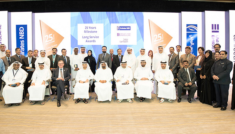 HH Sheikh Ahmed Bin Saeed Al Maktoum felicitates Emirates NBD staff completing 25 years of service